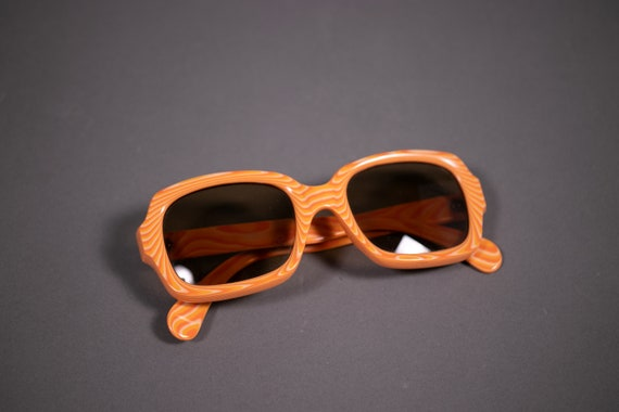 1960's Italian Orange Marble Sunglasses