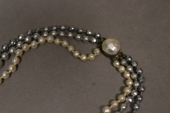 1930's Real Pearl 3 Rows Necklace - 30's Brass an… - image 4