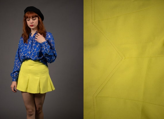 1960's Yellow Mini Cotton and Rayon Skirt - 60's P