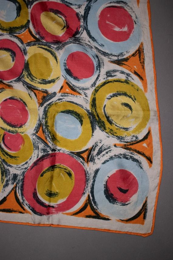 1940's Colorful Swirl Motif Silk Scarf - image 6