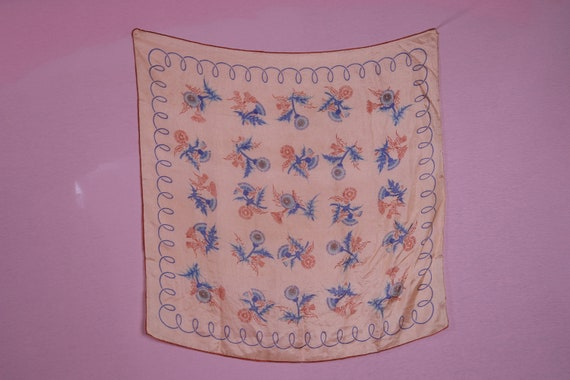 1940's Sheer Thistle Large Silk Scarf