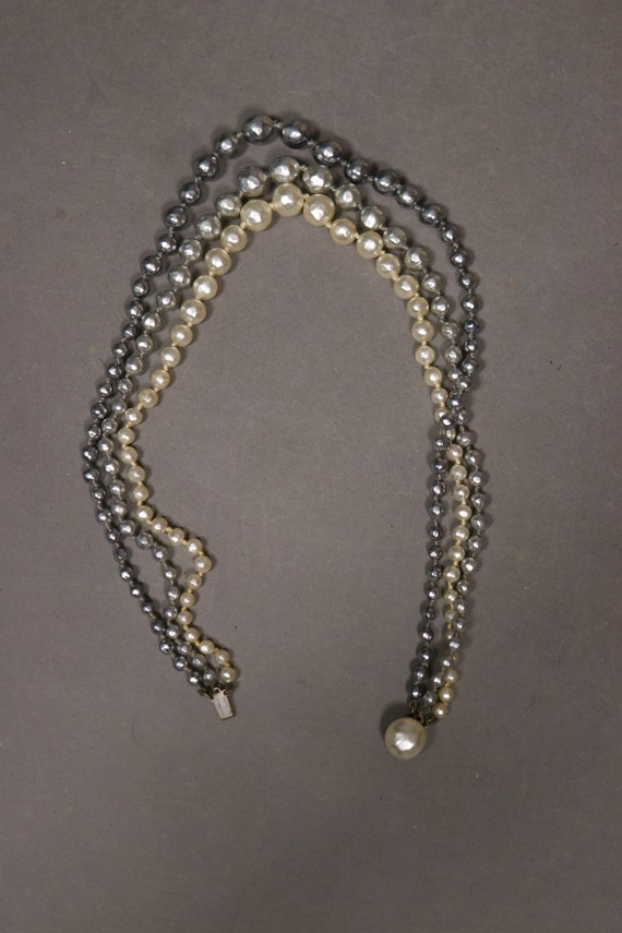 1930's Real Pearl 3 Rows Necklace - 30's Brass an… - image 7