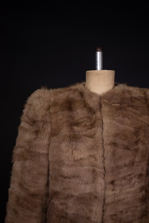1940's Brown Rabbit Fur Short Coat - 40's Fur Coa… - image 3