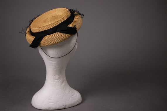 1950's Side Straw Hat - 50's Straw Elegant Summer… - image 3