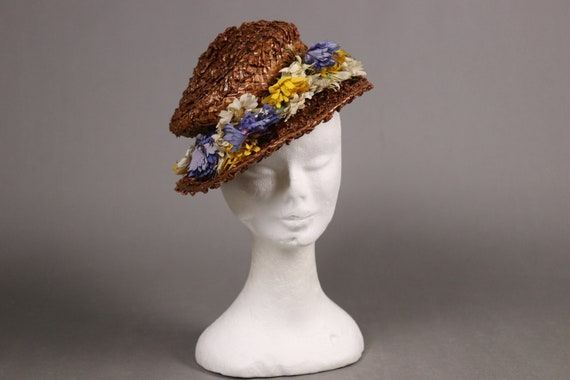 Edwardian MODELLA Straw Floral Hat - 1910's Straw… - image 7