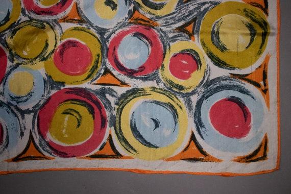 1940's Colorful Swirl Motif Silk Scarf - image 5