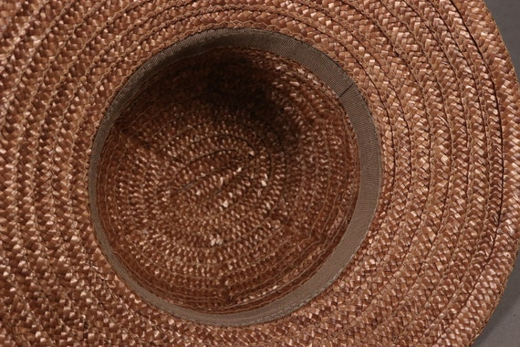 vintage Brown Straw Hat with Leopard Band - 80's … - image 6