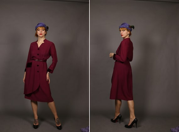 1940's Silk and Velvet Raspberry Red Dress - Size