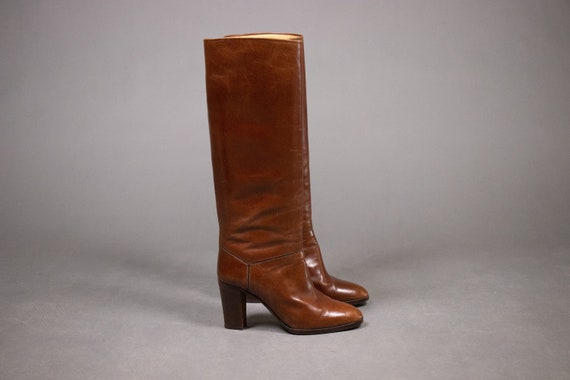 1970's Brown LOW Leather Tall Boots - Size Eu37.5