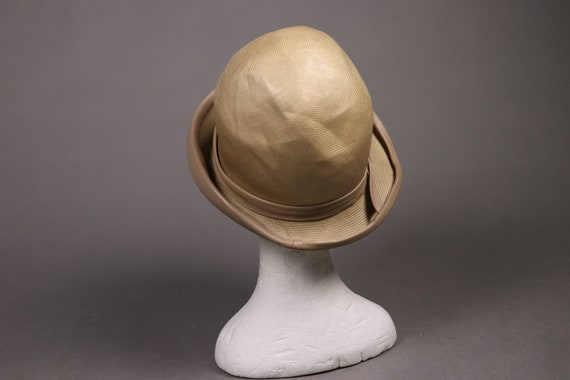 1920's Straw and leather Summer Cloche Hat -  20'… - image 7