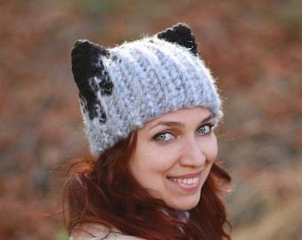 Light gray Hat with black ears Wolf Crochet slouchy cap gift idea animal  fashion dog ears fall teens casual style Adult costume fun beanie a7f9cf60e06