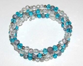 Aqua Memory wire Ice blue bracelet Gift idea Multistrand Ukraine Mixed beads summer jewelry Crystal Spiral bracelet Gifts under 25 Layering