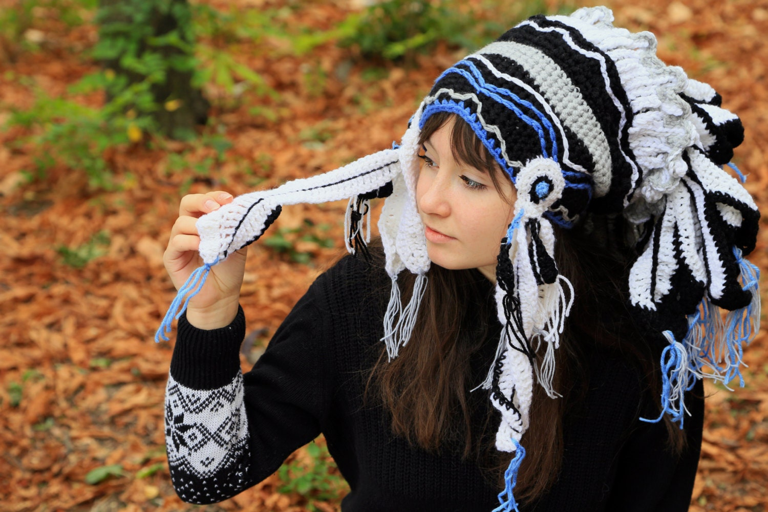 Blue crochet beanie imitation indian headdress Native style ethnic Chief  adult hat Handmade feather Knitted shaman roach Gift idea for him