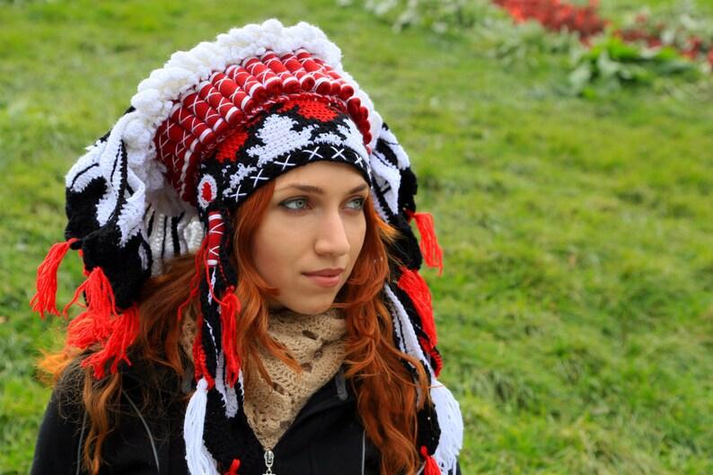 Rood Wit Zwart Haak Winter Muts Imitatie Native Stijl Chief Etsy