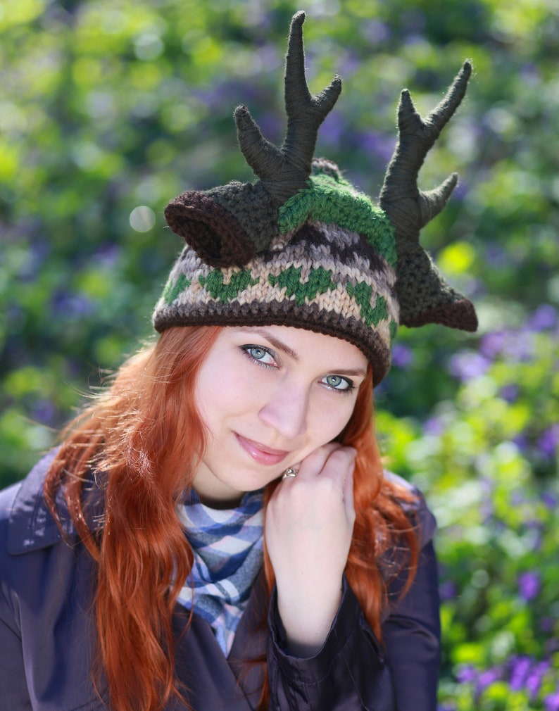 eb76f678aec Knitted hat deer with big horns ears Forest beanie Nymph