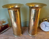 Pair of Tall Antique World War 1 Casings Shells - Trench Art - Ideal Vases or Small Umbrella Stands - WW1 1916
