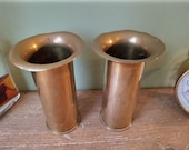 Pair of Antique World War 1 Casing Shells - Trench Art - Ideal Vases or Pen Pots or Desk Tidy - WW1 1916