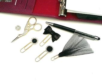 Black Planner Clips  set of 4 paper clips filofax accessories