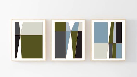 Block Colour Line Art Houses Decorative Wall Art Print