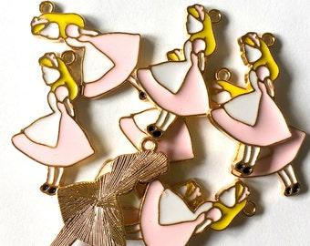 Large Pink Alice in Wonderland Enamel Charms 5pcs