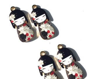 Black Kokeshi Doll Enamel Charms, Geisha Charms, Enamel Kokeshi Dolls, Geisha Doll Charms 4 pieces
