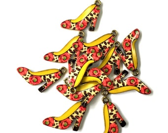 Rose and Leopard Print Enamel High Heel Shoe Charms 4pcs