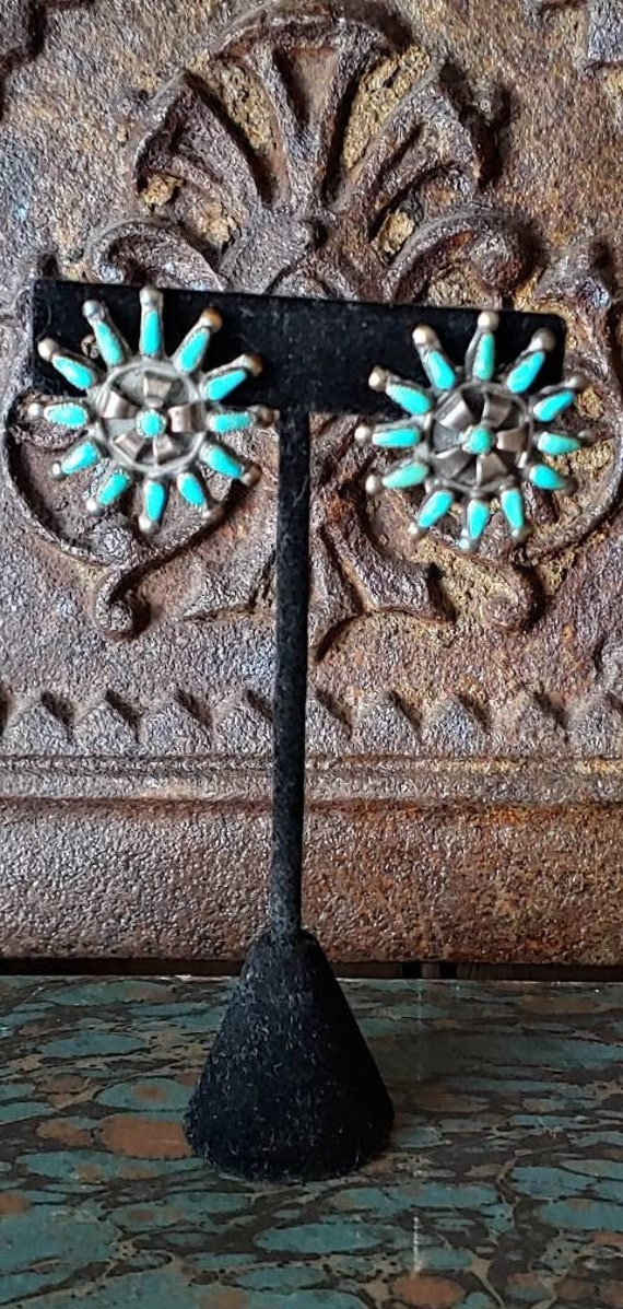 Vintage Sterling Turquoise Clip Earrings, Native … - image 1