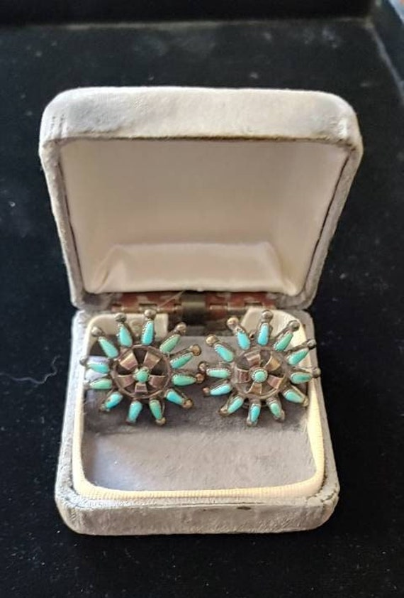Vintage Sterling Turquoise Clip Earrings, Native … - image 2