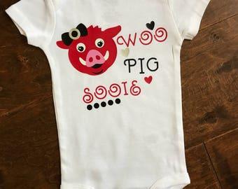 Baby girls Woo Pig Sooie, Arkansas razorbacks bodysuit.