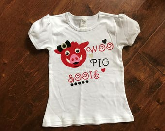 Toddler girl Arkansas Razorbacks, Woo Pig Sooie, Puff sleeve top.