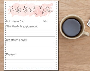Bible study notes printable - daily bible reading -daily devotion notes - instant download, bible notes - bible journal