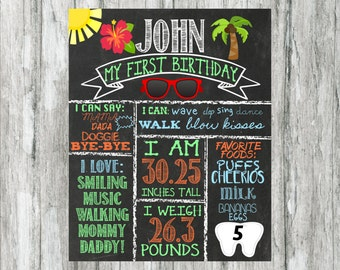 Luau birthday party , chalkboard sign stats , one year old , two years old , customized , digital file , beach , pool party , summer , boy