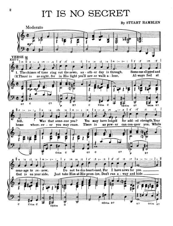 It Is No Secret What God Can Do Sheet Music PDF. Stuart | Etsy