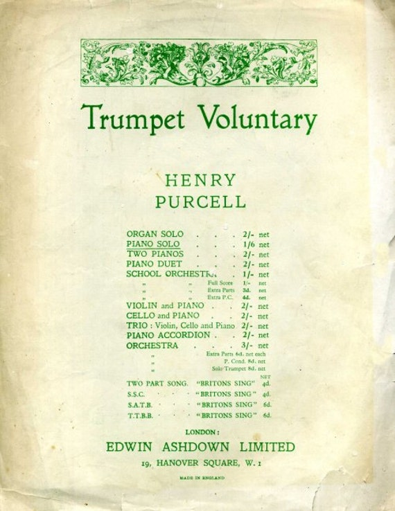 TrumpetVoluntary  Arranged by Henry Geehl  Sheet Music Instant Download   Cover Artwork