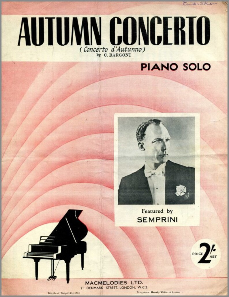 Autumn Concerto  Semprini  Sheet Music Instant Download PDF  Cover  Artwork   Vintage Sheet Music