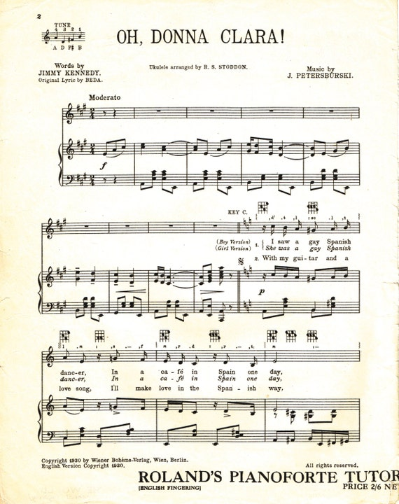 Oh Donna Clara For Voice And Piano Sheet Music Download Etsy