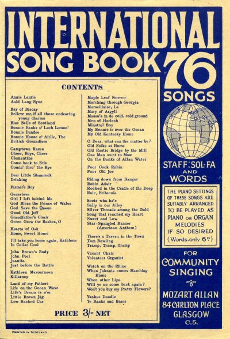 International Song Book of 76 Songs  1930's  PDF