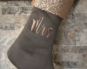 rose gold gray suede christmas stocking - Gold Christmas Stocking