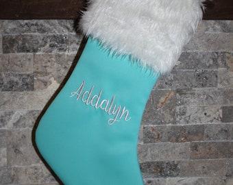 teal aqua white fur christmas stocking personalized custom name monogram stockings christmas decorations