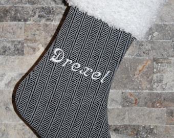 Personalized Herringbone Black Gray White Fur Cuff Christmas stocking