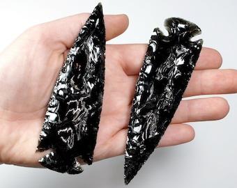 "2 Black Obsidian Arrowhead 4""-4.5"" Wholesale Lot"