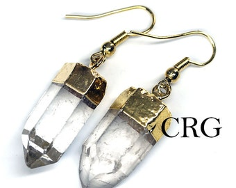 Gold Plated Quartz Point Earrings (ER7BT)