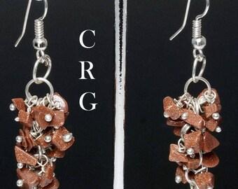 Silver Plated Goldstone Grape Cluster Earrings (GC4DG)