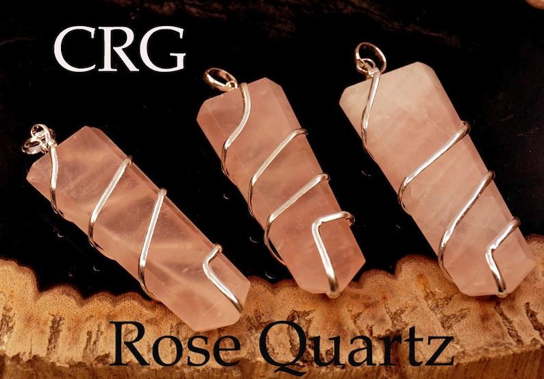 Rose Quartz Flat Point In Silver Spiral Pendant #VG2643ROQTY-1