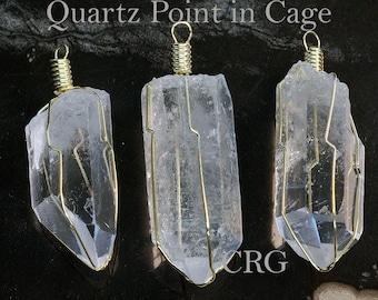 "Gold Plated Caged Quartz Point Pendant 1.5""-2"" (CA3BT)"