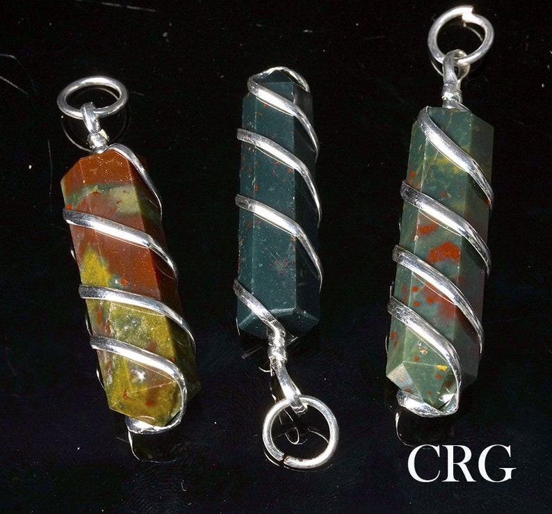QTY-1 Bloodstone Point Pendant in Silver Plated Spiral PP13DG