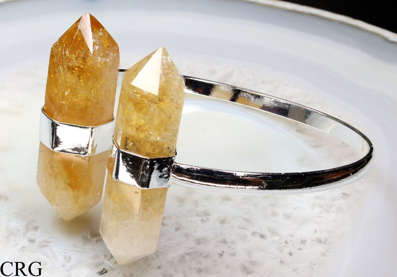 Citrine 2.75 avg Silver Plated Cuff Bracelet w Bi-terminated Crystals