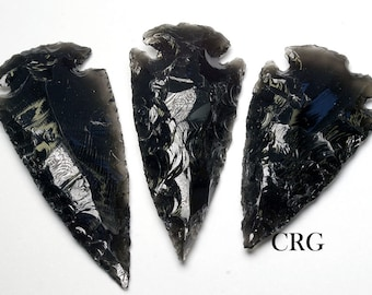 """Black Obsidian Arrowhead 2""""-2.5"""" QTY-1 (AR33DG)"""