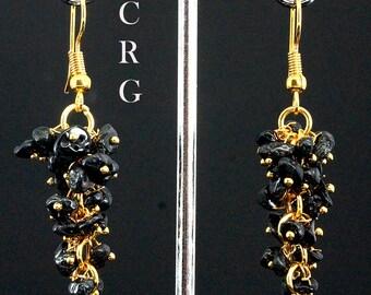 Gold Plated Black Tourmaline Grape Cluster Earrings (GC39DG)