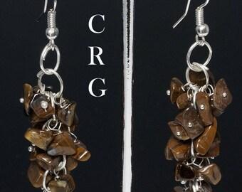 Silver Plated Tiger Eye Grape Cluster Earrings (GC12DG)